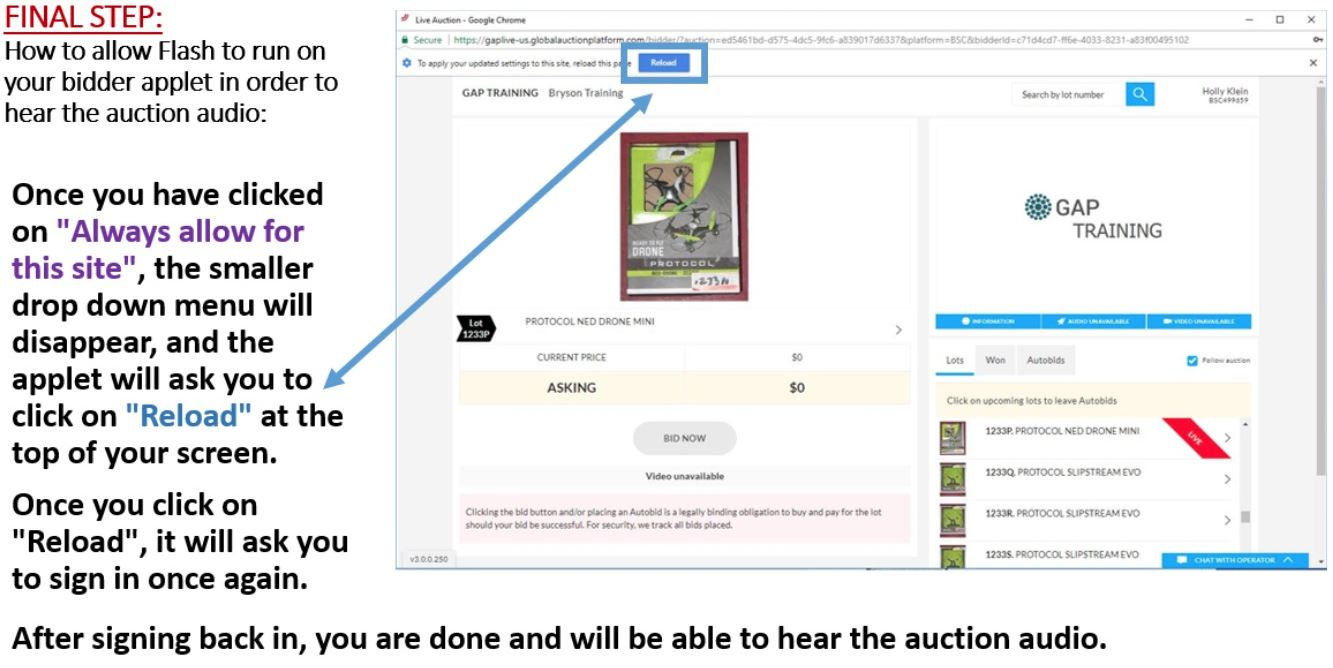 Lot 0D - CHROME USERS: HOW TO ALLOW FLASH IN ORDER TO HEAR AUDIO - STEP 4