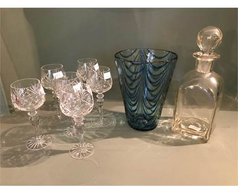 A 19th Century Nailsea type tapered vase, blue inclusions, broken pontil, height 20cm, a set of recent cut glass hock glasses