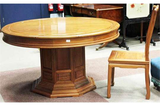 CHINESE ROSEWOOD DINING TABLE AND EIGHT CHAIRS The Expanding Circular Table  On Octagonal Base, T