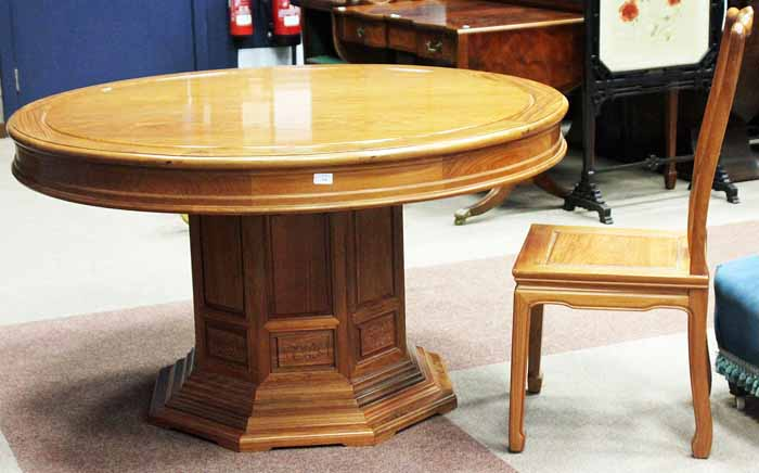 Lot 618   CHINESE ROSEWOOD DINING TABLE AND EIGHT CHAIRS The Expanding  Circular Table On Octagonal