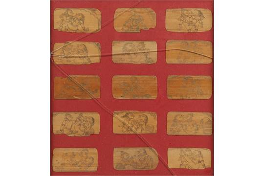 A GROUP OF FIFTEEN PALM-LEAF ILLUSTRATIVE MANUSCRIPTS depicting the