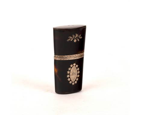 A George III miniature tortoiseshell scent bottle holder, the case of tapering form with an inlaid silver oval to each side a
