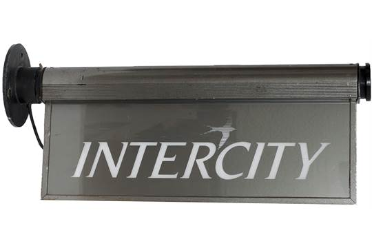 intercity double sided illuminated booking office sign displaying the intercity swallow and logo intercity double sided illuminated