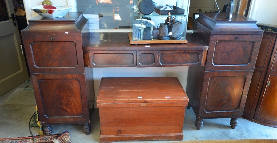 Lot 16 - WITHDRAWN A Regency mahogany pedestal sideboard, the central section with two frieze drawers flanked