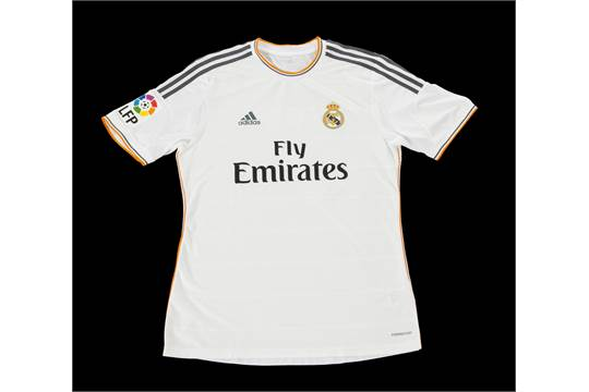 info for 836bb 6eef6 An Adidas brand Real Madrid football jersey match worn by ...