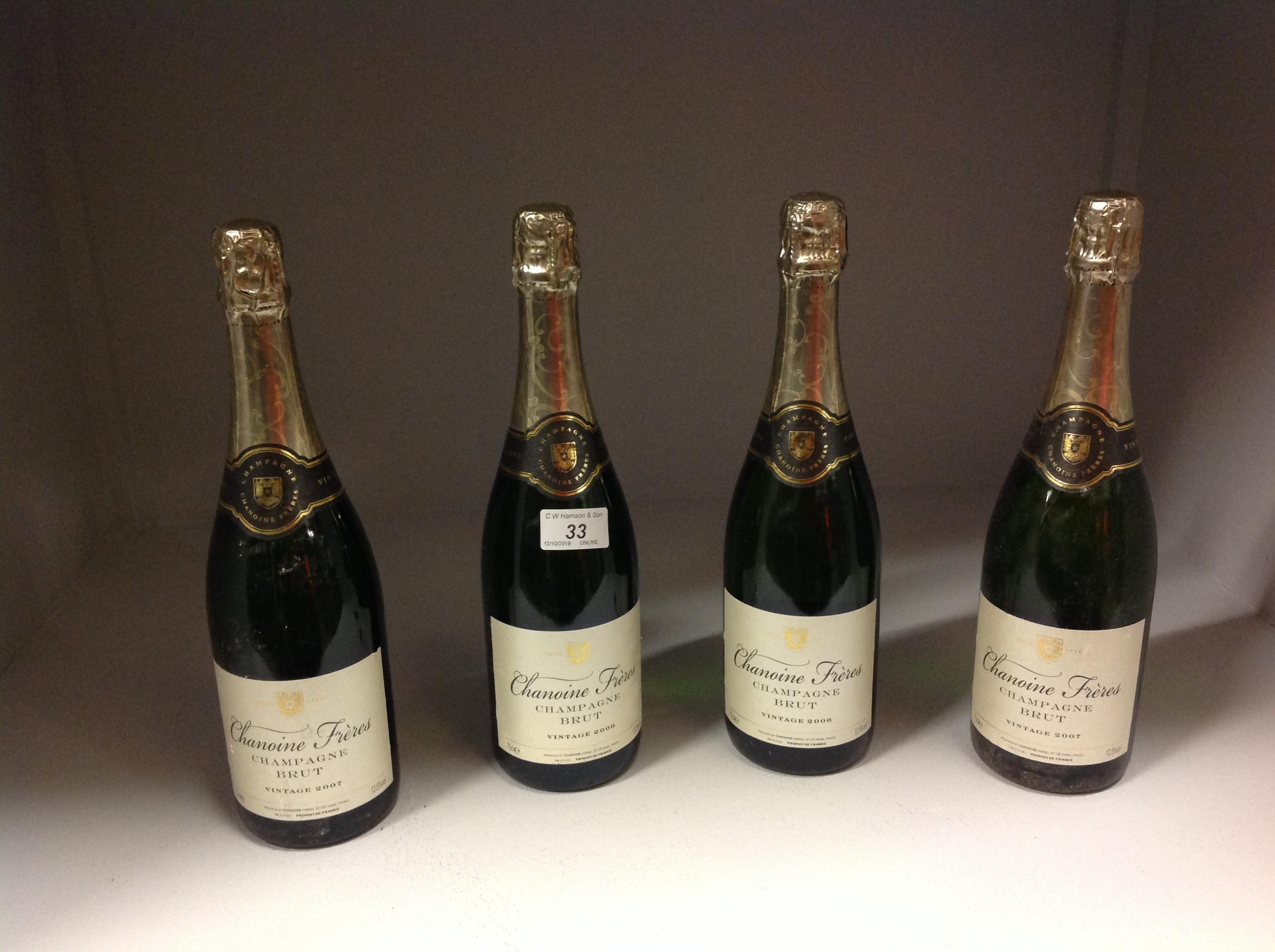 Lot 33 - 4 x 75cl bottles Chanoine Freres Champga