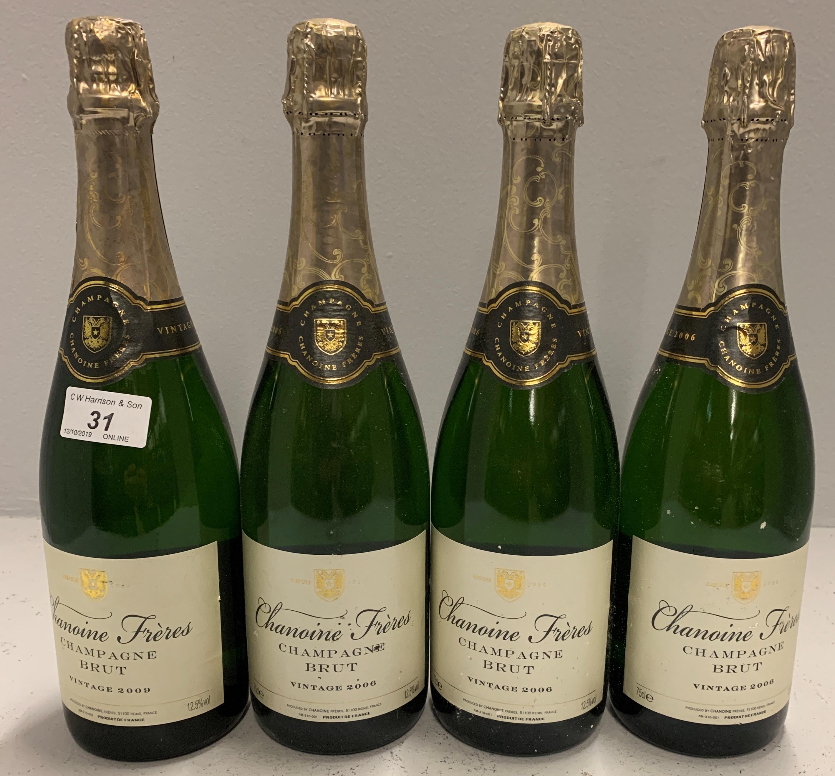 Lot 31 - 4 x 75cl bottles Chanoine Freres Champga