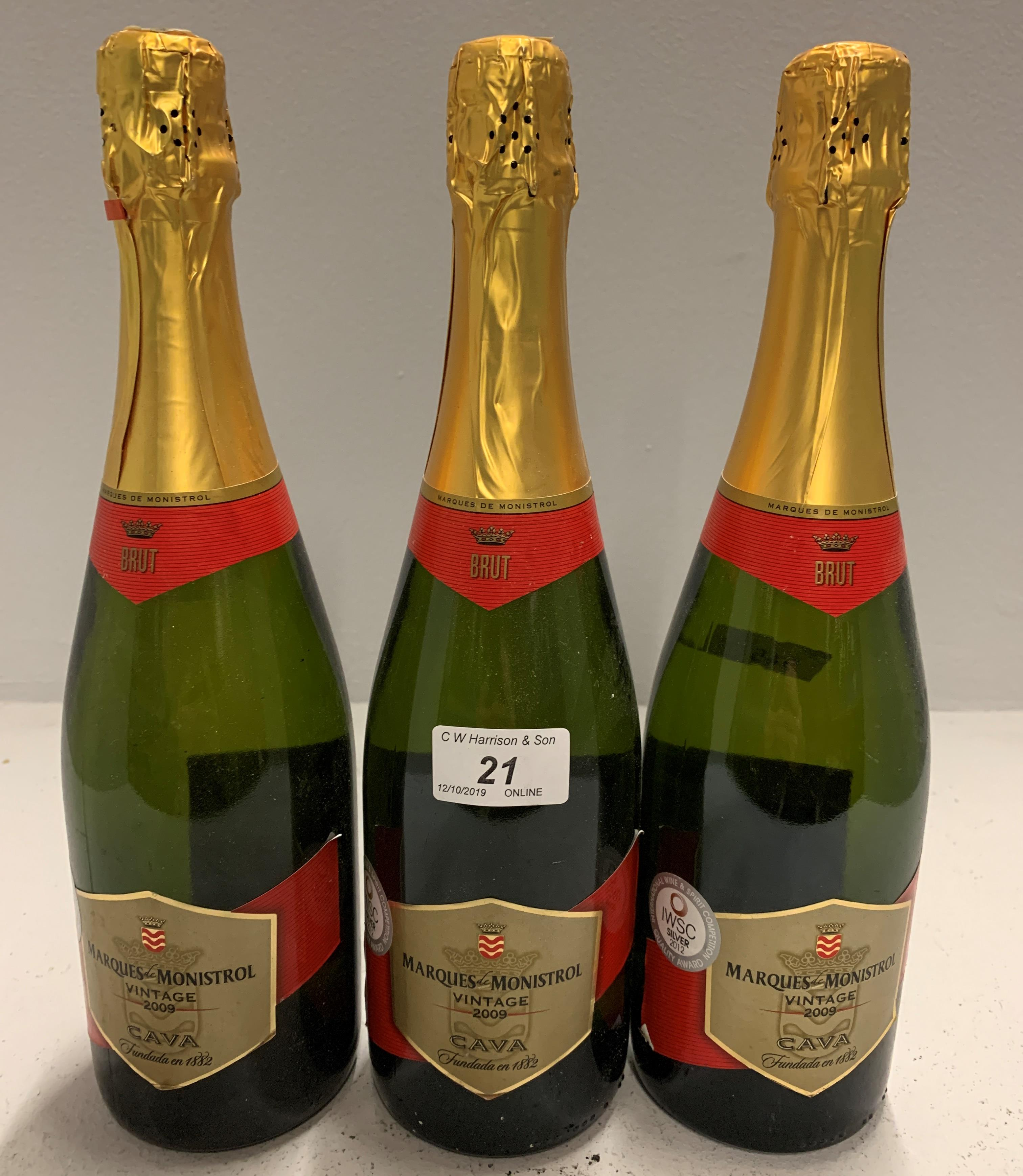 Lot 21 - 3 x bottles Marques-Monistrol Cava - Vin