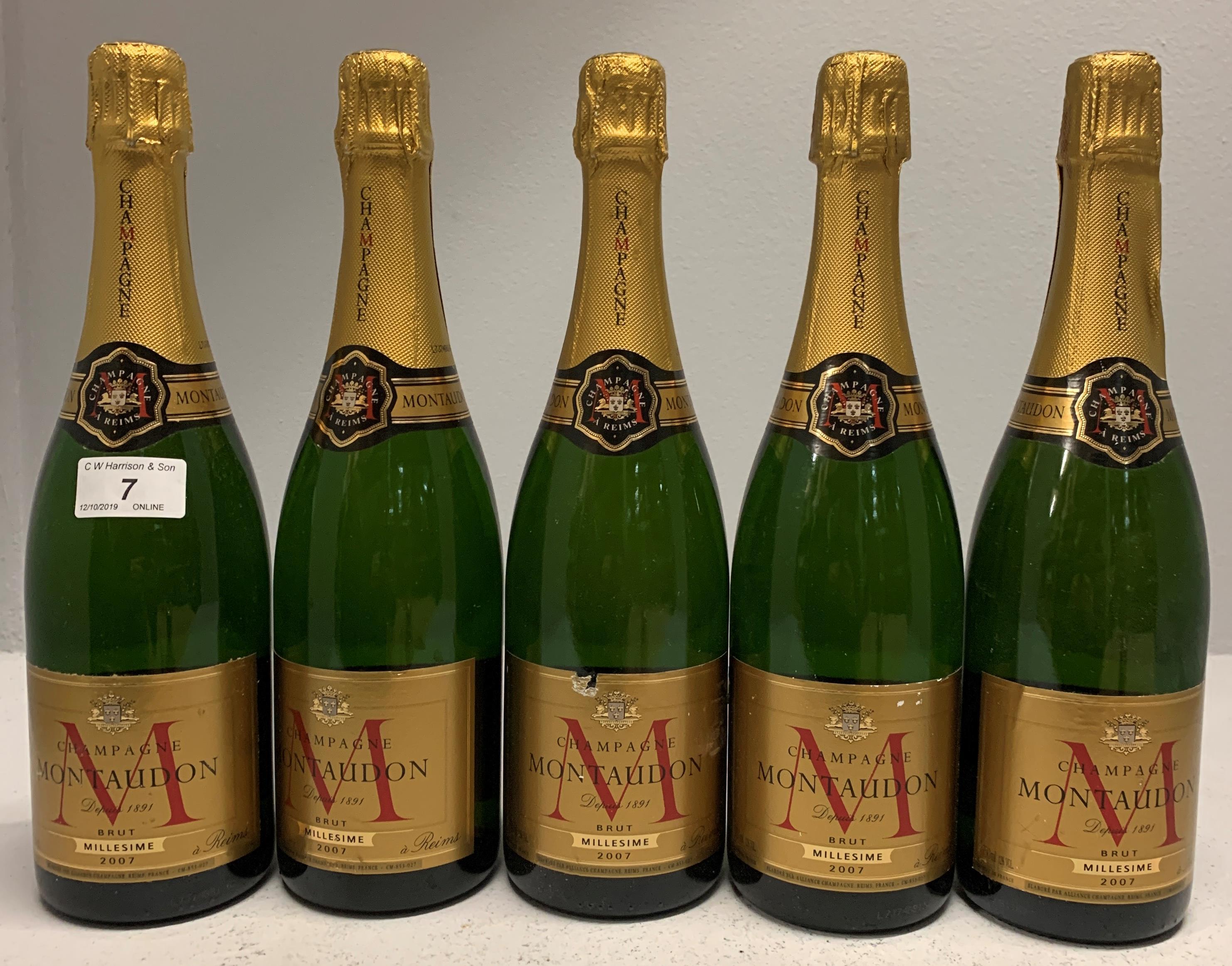 Lot 7 - 5 x 750ml bottles Montaudon 2007 Brut Mi