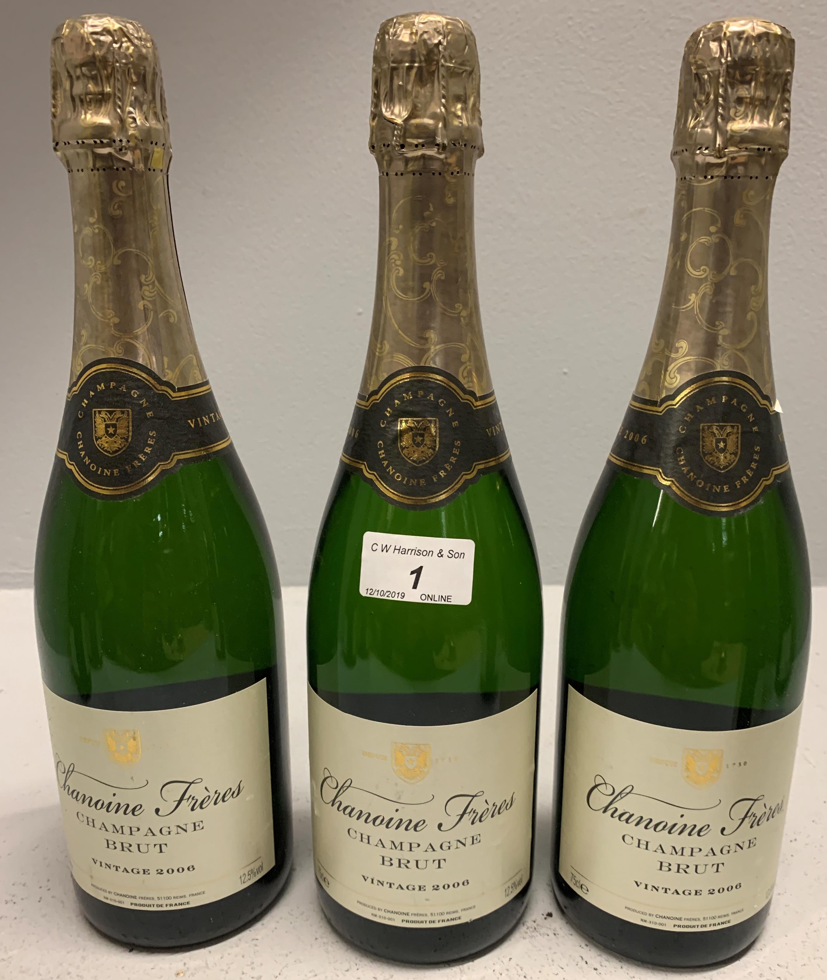 Lot 1 - 3 x 750ml bottles vintage 2006 Chanoine