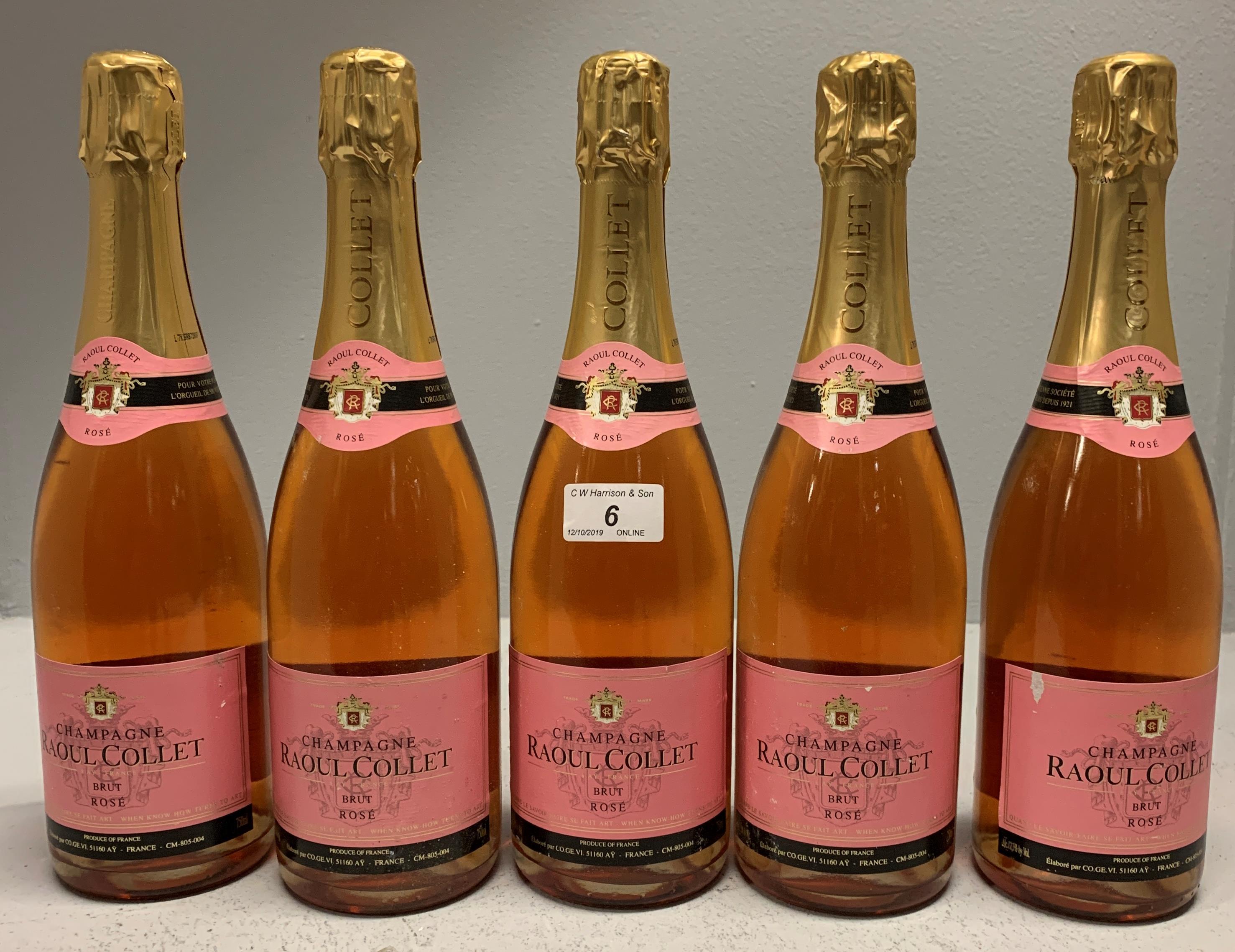 Lot 6 - 5 x 750ml bottles Raoul Collet Brut Rose