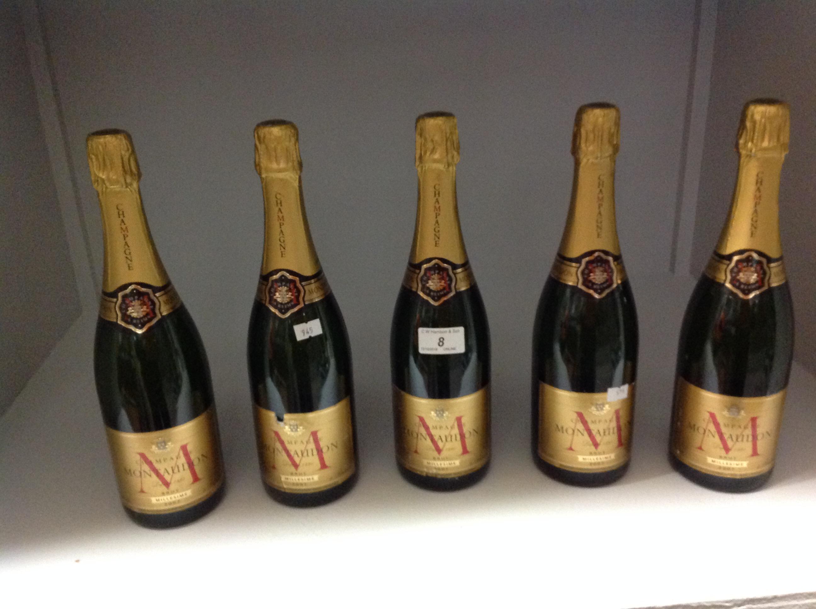 Lot 8 - 5 x 750ml bottles Montaudon 2007 Brut Mi