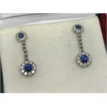 INCREDIBLE FINE BLUE SAPPHIRE & DIAMOND DROP EARRINGS - 18ct WHITE GOLD