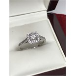 18ct WHITE GOLD DIAMOND HALO RING 1.00ct