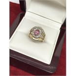 9ct GOLD RUBY & DIAMOND RING