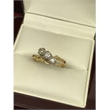 18ct GOLD 3 STONE DIAMOND CROSSOVER RING