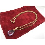 "LOVELY 24"" BELCHER 9ct GOLD CHAIN WITH AMETHYST 9ct PENDANT"
