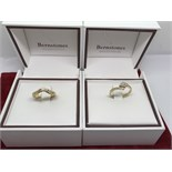 2 x BOXED DIAMOND SET RINGS ( 1 X 18ct & 1 X 9ct GOLD)