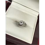 18ct WHITE GOLD 0.50ct CROSSOVER DIAMOND RING