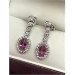 FINE 18ct GOLD PINK SAPPHIRE & DIAMOND DROP EARRINGS
