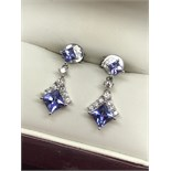 FINE 18ct GOLD TANZANITE & DIAMOND EARRINGS