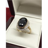 APPROX 3ct SAPPHIRE & DIAMOND RING SET IN 9ct GOLD