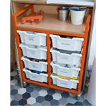 1 x Mobile Trolley With Eight Plastic Drawers - Features Orange Frame, Castor Wheels, Wood Surface