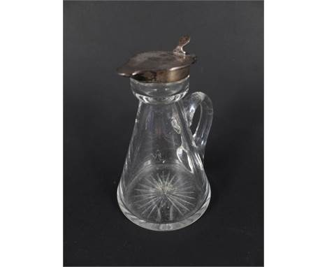 A silver topped glass whiskey noggin, hallmarked London 1911