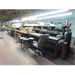 """76""""x180"""" Wood Work Stations, with (3) Shelving Units with Contents. To Include Hand tools, Brazing"""