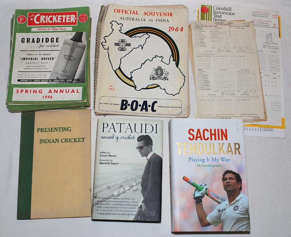 Lot 26 - Indian cricket 1940s-2010s. Small box including an official souvenir pre-tour brochure for the