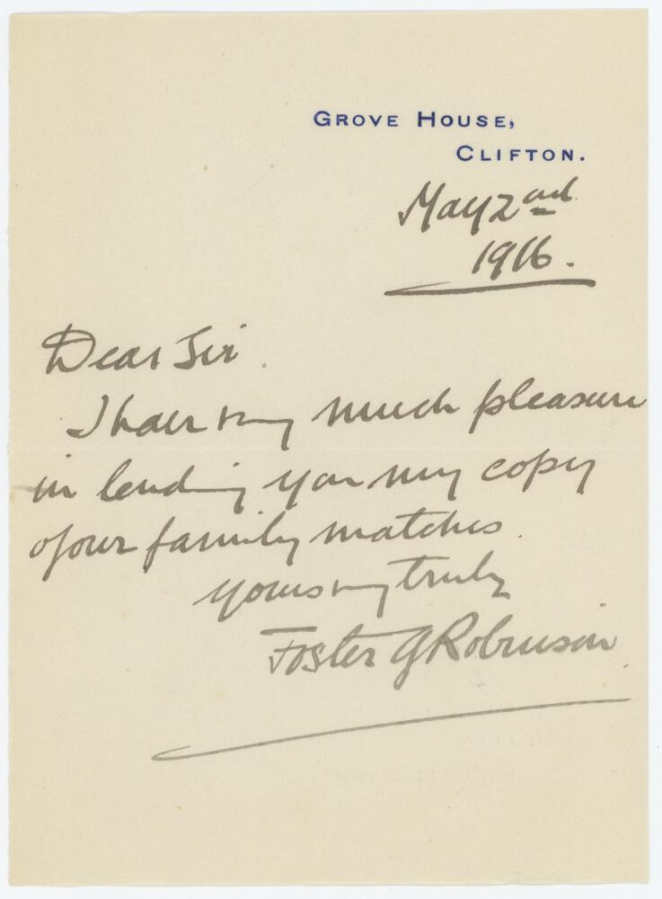 Lot 59 - Sir Foster Gooch Robinson. Gloucestershire 1903-1923. Single page short handwritten letter dated 2nd