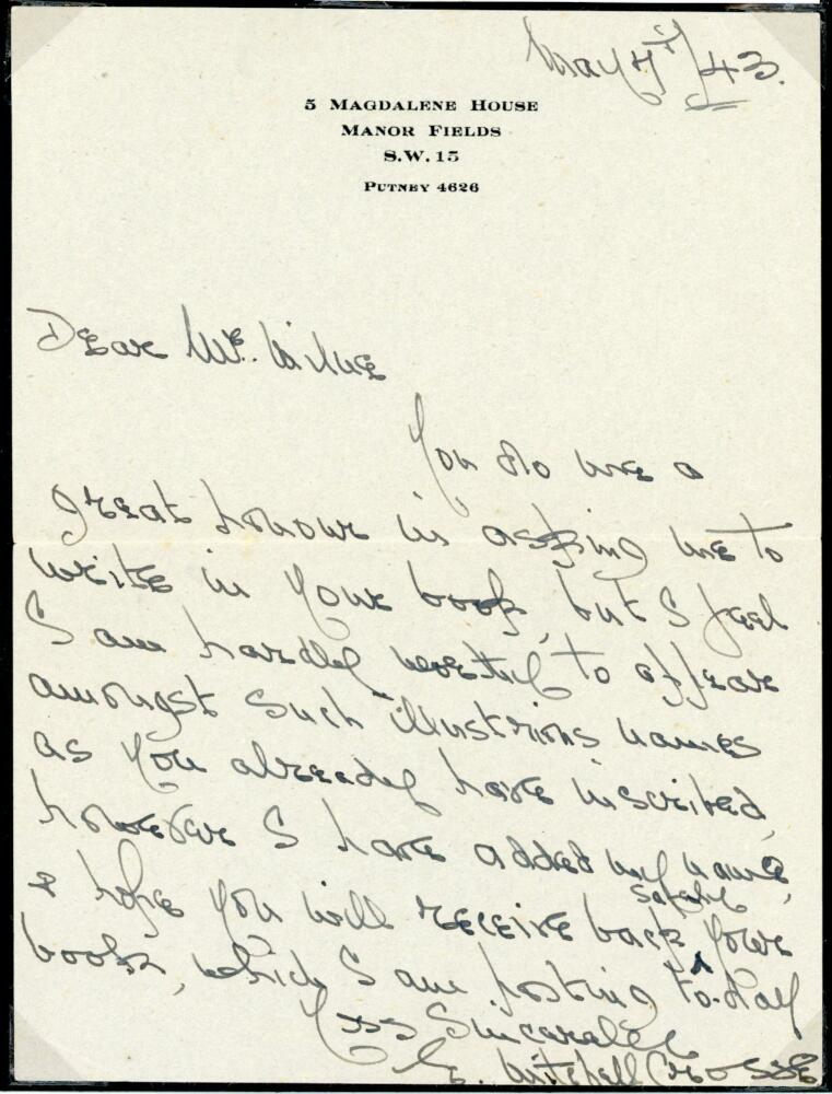 Lot 44 - Edmund Mitchell Crosse. Northamptonshire 1905-1910. Single page handwritten letter in ink from