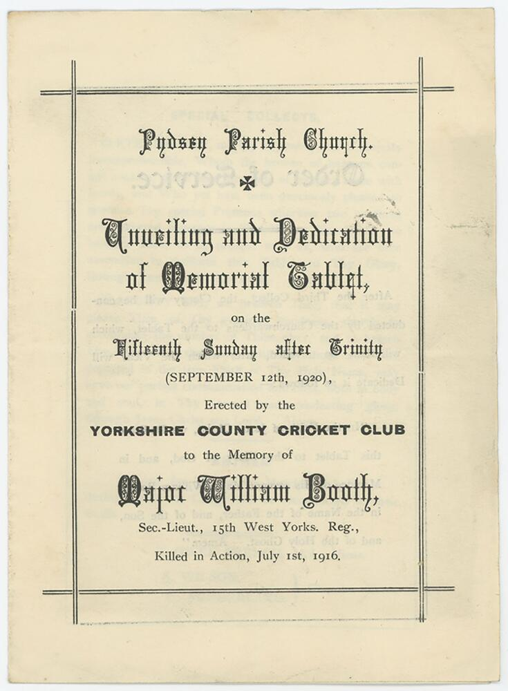 Lot 1 - Major William Booth. Yorkshire & England 1908-1914. Official four page order of service for the '