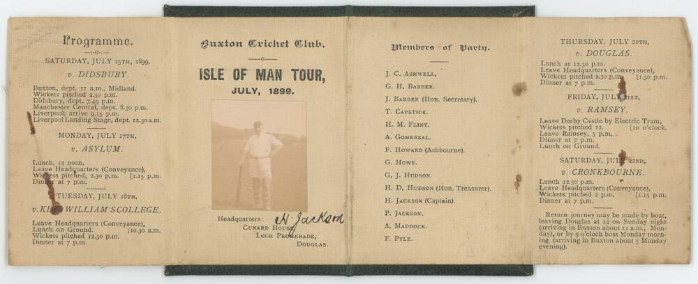 Lot 14 - Buxton C.C. Isle of Man Tour July 1899. Four page folded card on linen paper in black leather covers