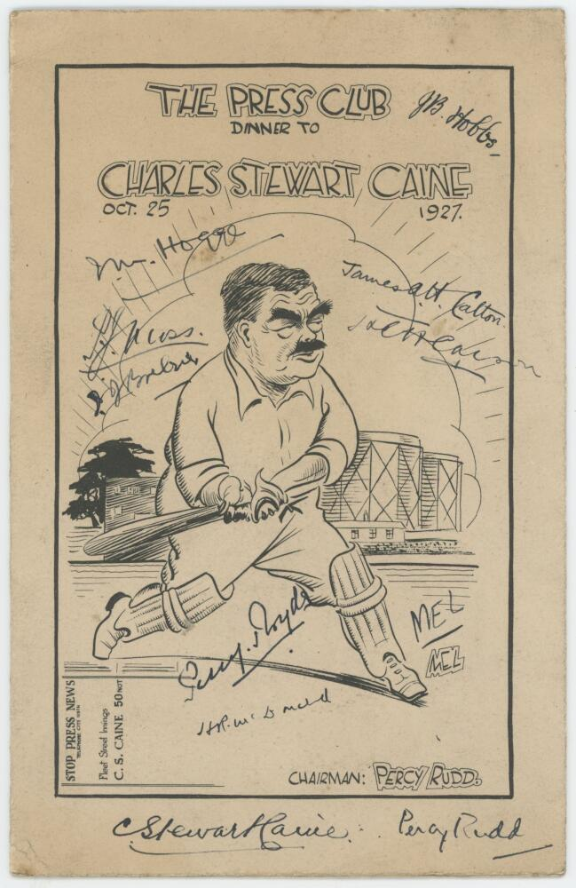 Lot 38 - Charles Stewart Caine. Sports writer and Editor of Wisden Cricketers Almanack from 1926-33. 'The