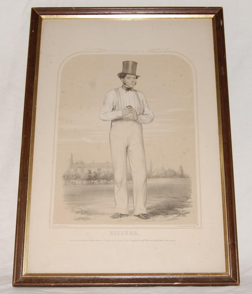 Lot 707 - 'Fuller Pilch. Sketches at Lord's No. 3'. Early large hand coloured tinted lithograph of Fuller