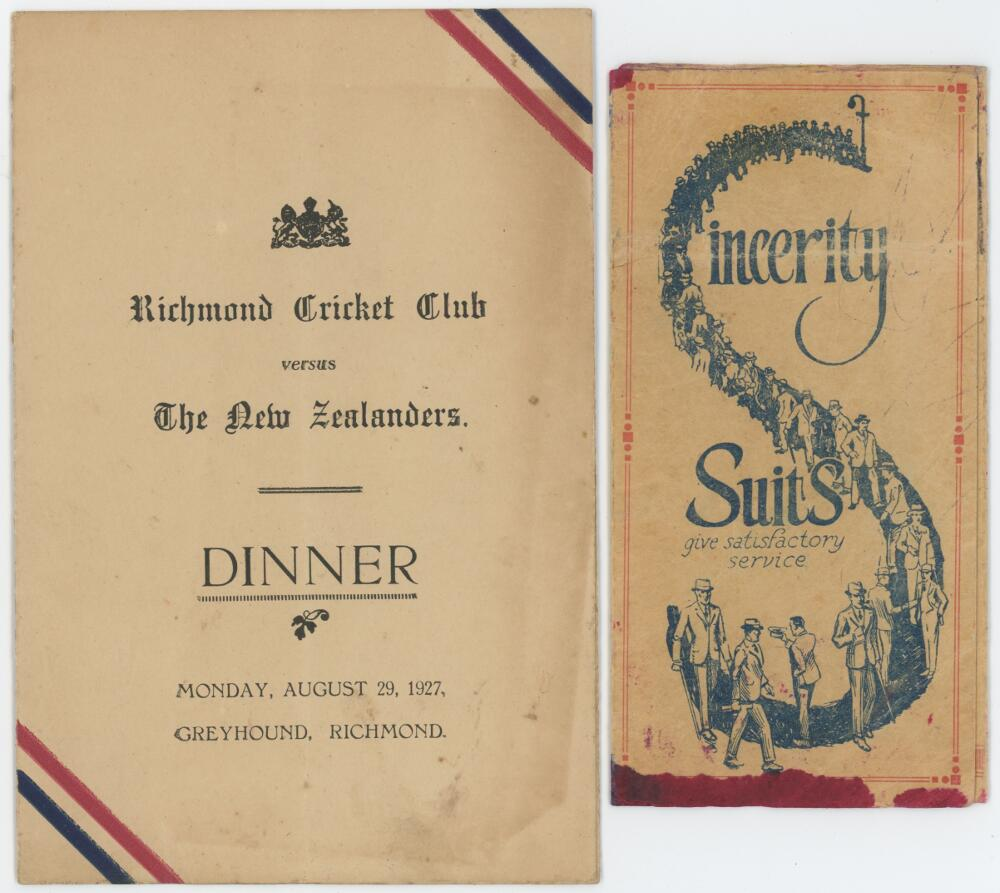 Lot 2 - New Zealand tour to England 1927. Official folding card menu for the dinner given for the New