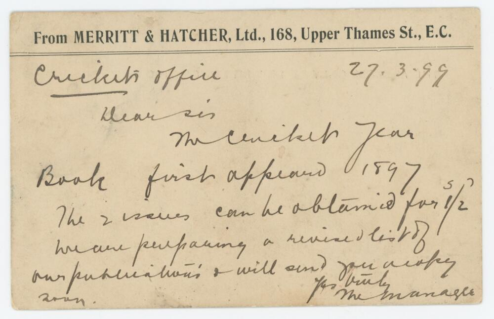 'The Cricket Year Book'. Handwritten plain postcard dated 27th March 1899 from The Manager of the '