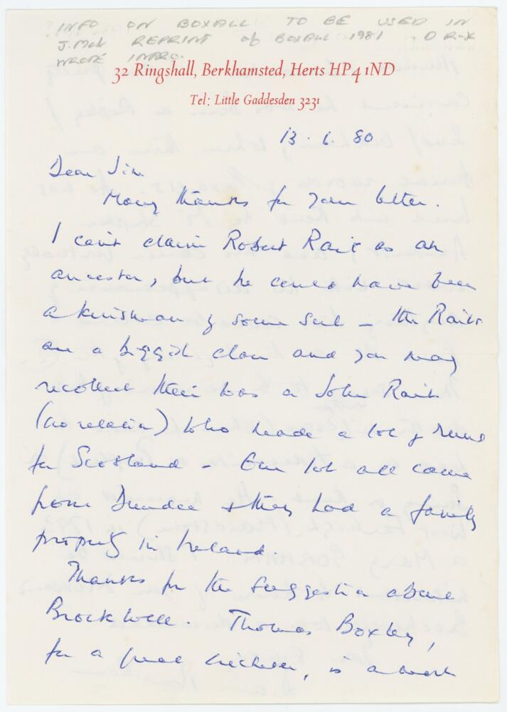 Lot 58 - Diana Rait Kerr. Curator at Lord's 1945-1968. Two page handwritten letter dated 13th June 1980 to