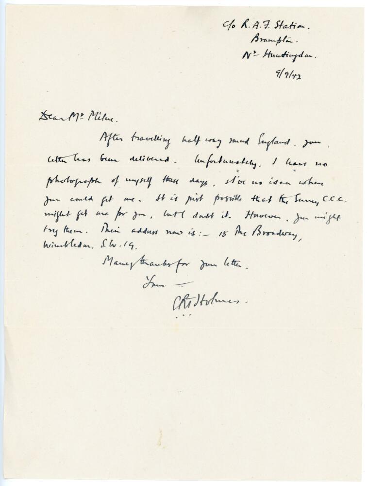 Lot 45 - Errol Reginald Thorold Holmes. Surrey, Oxford University & England 1924-1955. Single page