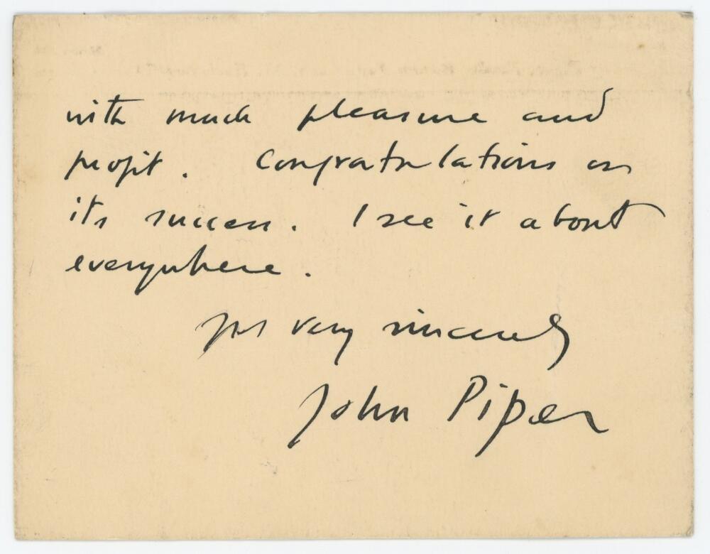 John Piper (1903-1992). Artist & print maker. Two sided hand written card from Piper to John Arlott,
