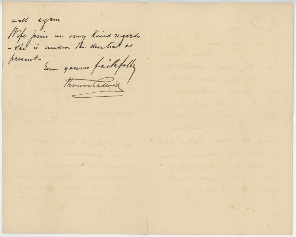 Lot 51 - Thomas Padwick (1844-1898). Three page handwritten letter dated 18th February 1892 from Thomas