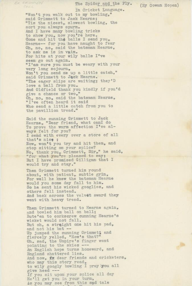 Lot 20 - 'The Spider and the Fly in Cricket Language' by Gowen Hopen. An entertaining typed poem comprising