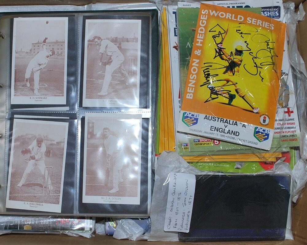 Lot 29 - Cricket ephemera. Box comprising an eclectic mix of mainly modern ephemera including postcards,