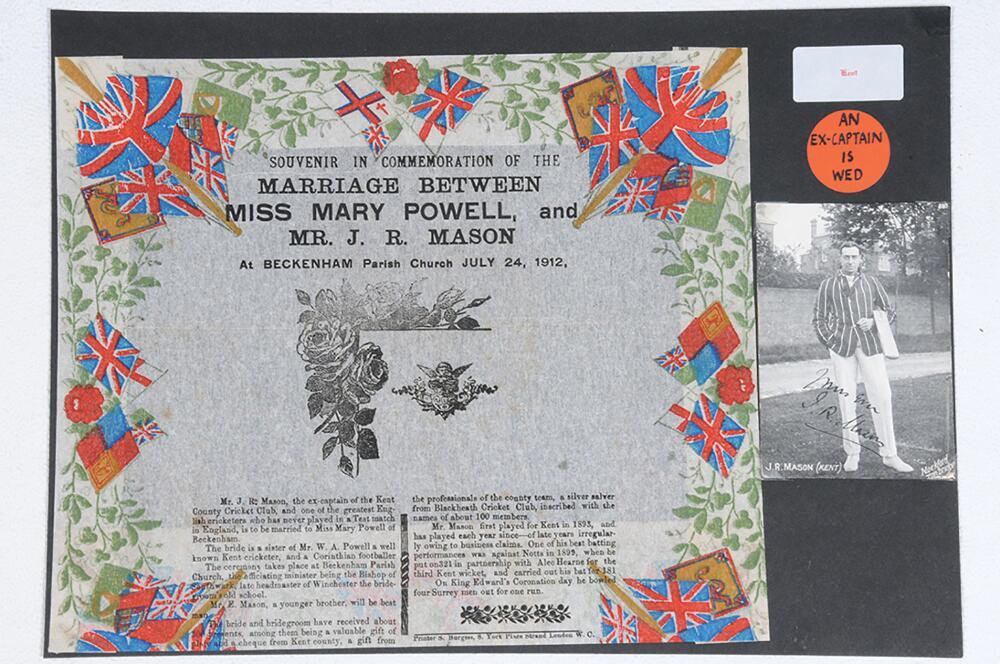 Lot 15 - John Richard Mason. Kent & England 1893-1914. A rare colour wedding souvenir printed on crepe