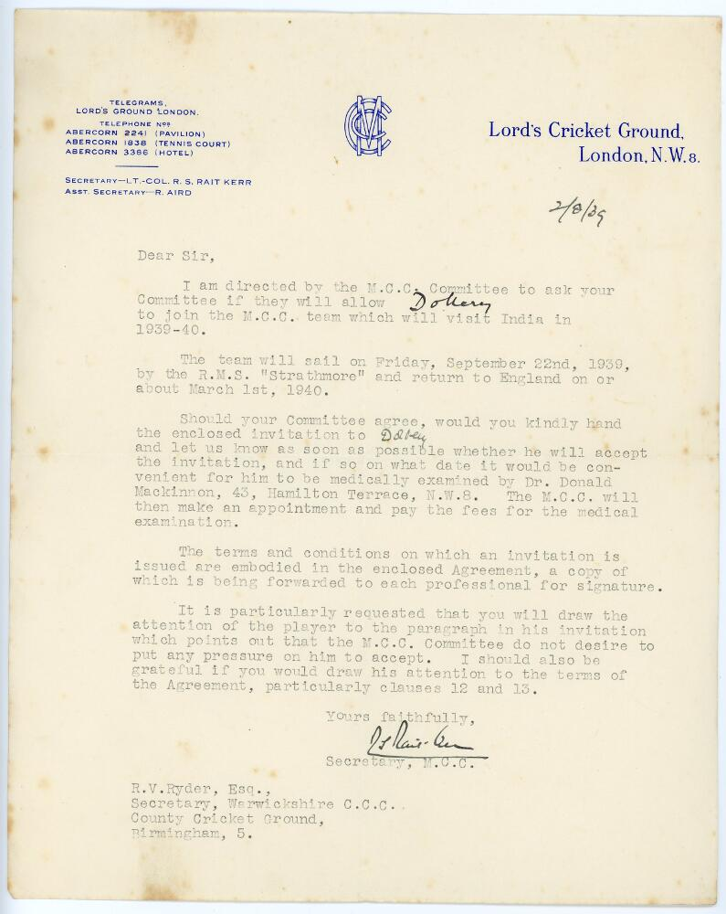 Lot 37 - Tom Dollery. Selection of thirteen letters and telegrams sent to Dollery during his cricket