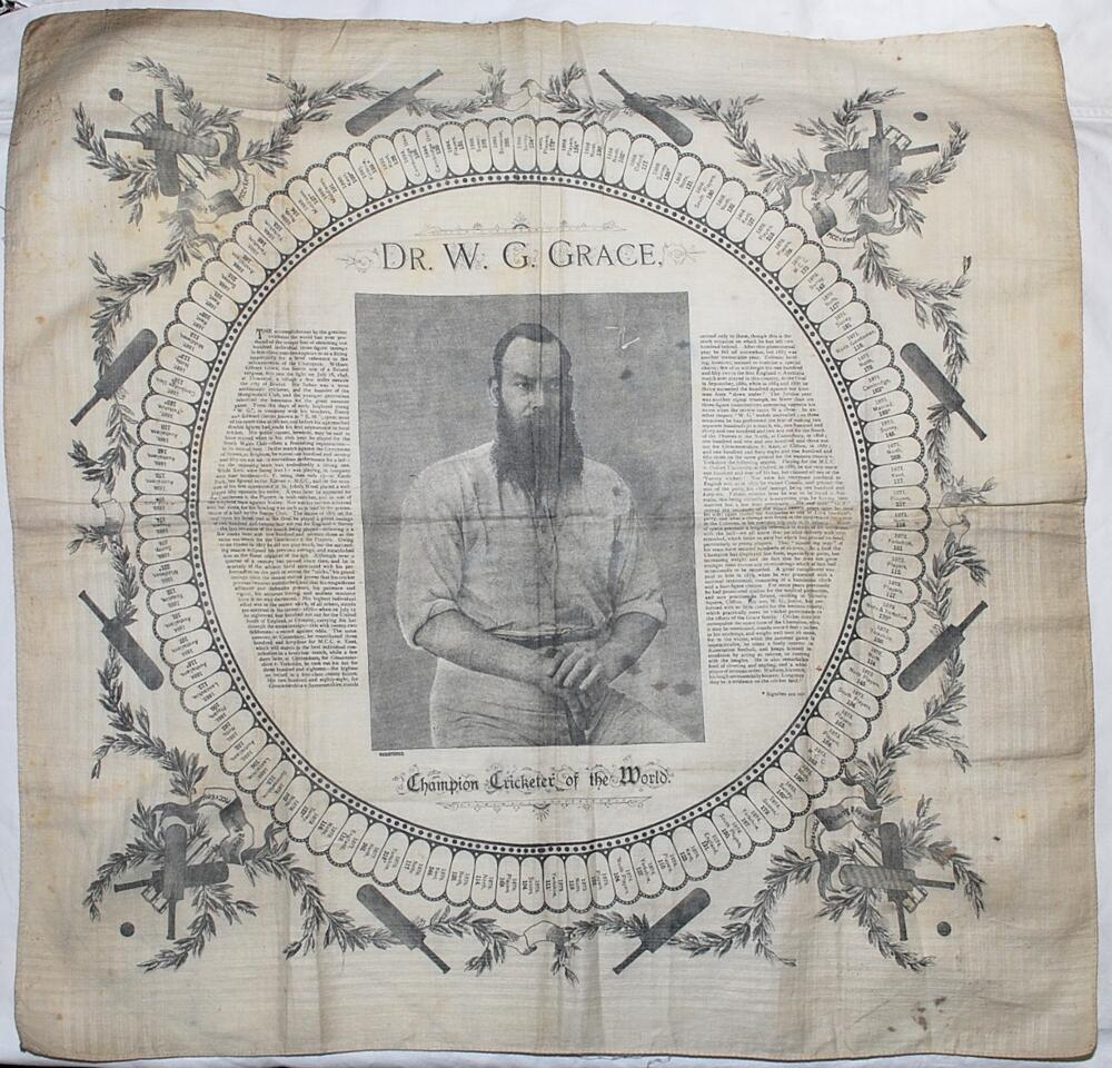 Lot 22 - 'W.G. Grace. Champion Cricketer of the World'. Large cotton handkerchief commemorating a Century