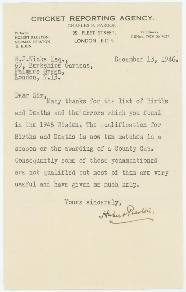 Lot 57 - Hubert Preston. Editor of Wisden 1944-1951. Single page typed letter on 'Cricket Reporting Agency'