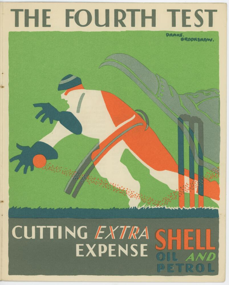 Lot 480a - 'Shell Oil Cricket Series'. 'Cricket'. Collection of five colour chromolithographs produced by the