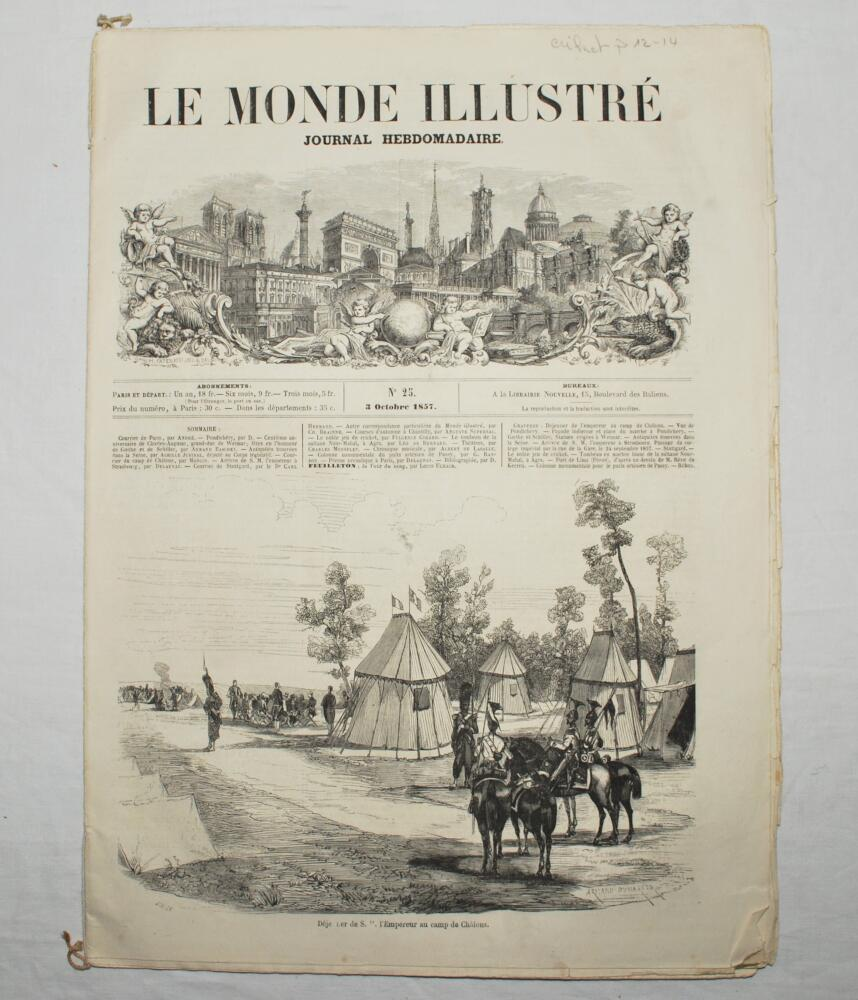 Lot 13 - 'Le Monde Illustre'. Early and original 'tabloid' sixteen page French newspaper for the 3rd